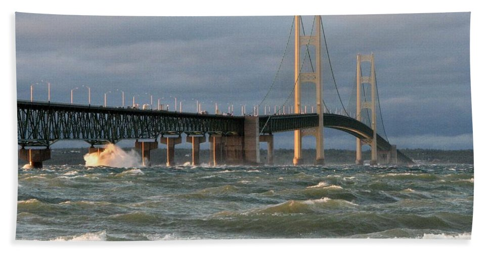 Storm Bath Towel featuring the photograph Stormy Straits of Mackinac by Keith Stokes