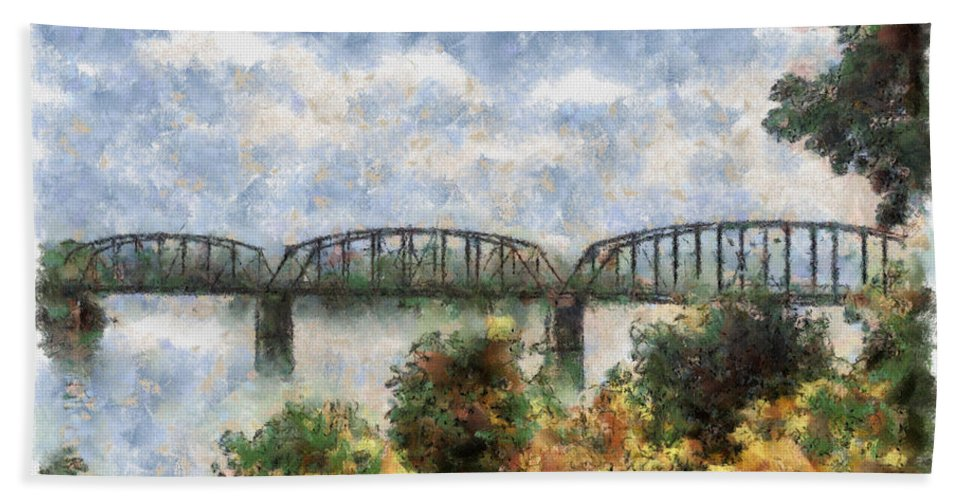 Strang Hand Towel featuring the painting Strang Bridge by Jeffrey Kolker