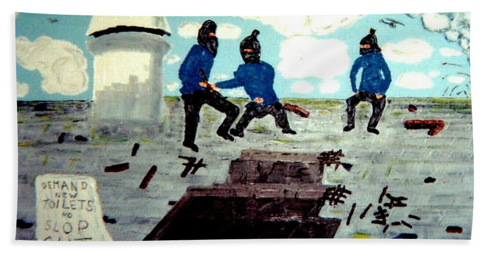 Historical Hand Towel featuring the painting Strangeways Prison Riots Uk.1990s by MERLIN Vernon