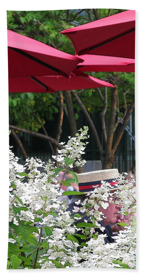 Umbrella Bath Towel featuring the photograph Straw Hat by Ann Horn