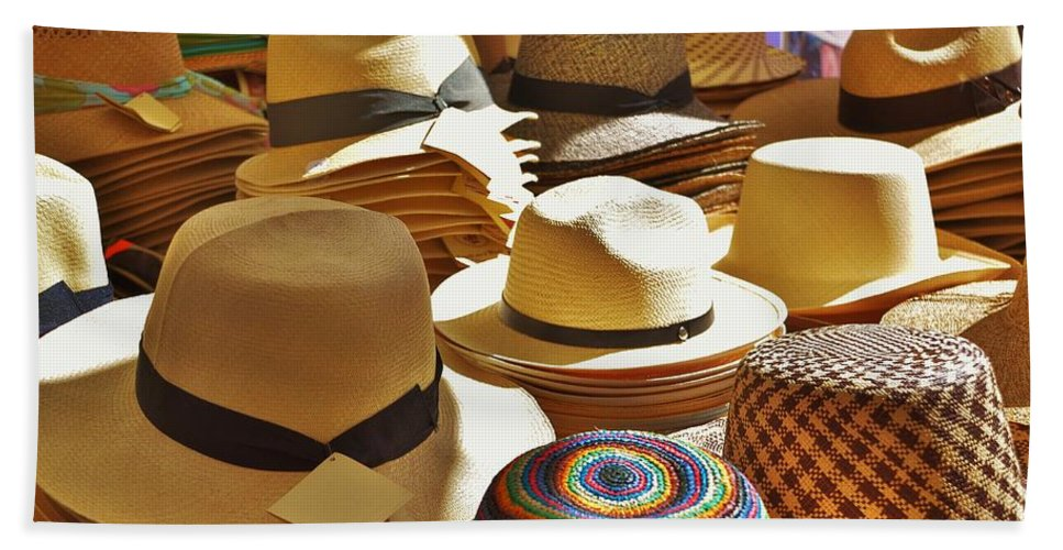Hat Bath Sheet featuring the photograph Straw Hats by Dany Lison