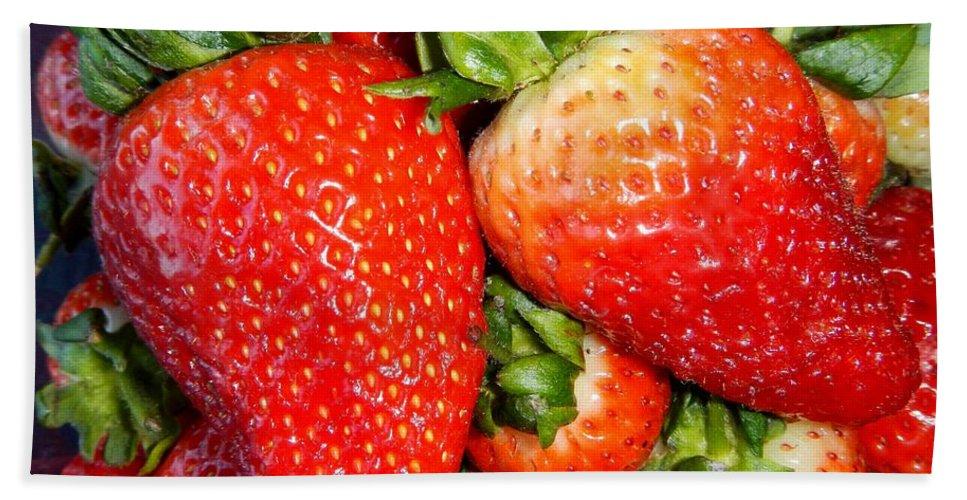 Strawberries Bath Sheet featuring the photograph Strawberries by Loreta Mickiene