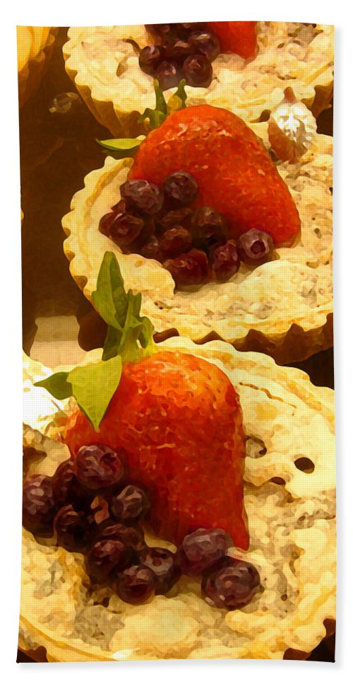 Food Bath Sheet featuring the painting Strawberry Blueberry Tarts by Amy Vangsgard