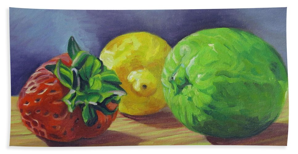Still Life Hand Towel featuring the painting Strawberry Citrus by Kenneth Cobb