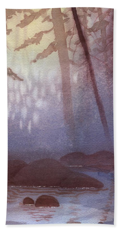 Landscape Bath Towel featuring the painting Stream In Mist by Lynn Quinn
