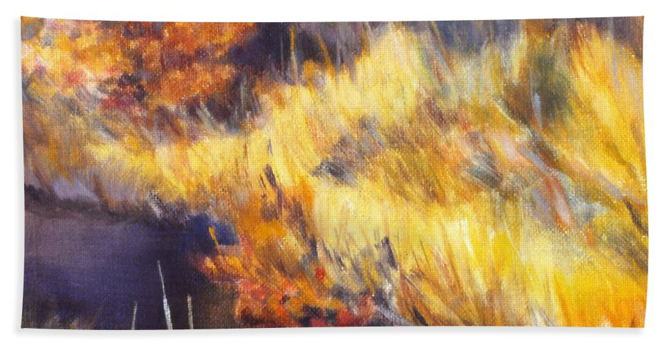 Stream Hand Towel featuring the painting Stream by Kendall Kessler