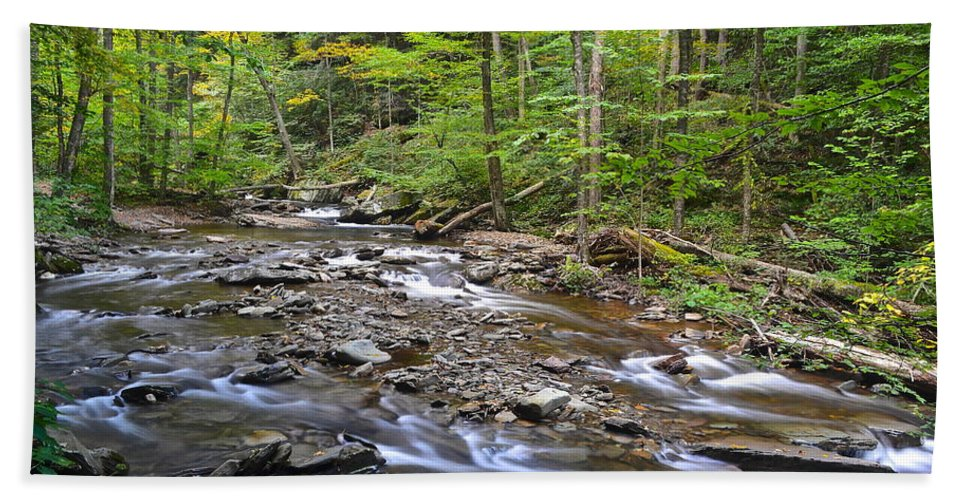 Stream Bath Sheet featuring the photograph Stream Of Serenity by Frozen in Time Fine Art Photography