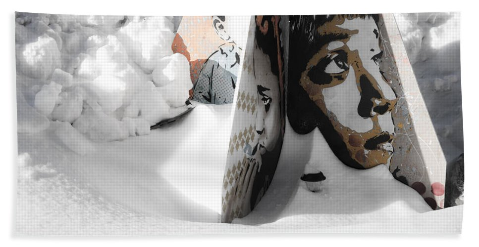 Snow Hand Towel featuring the photograph Street Art In The Snow by Valerie Rosen
