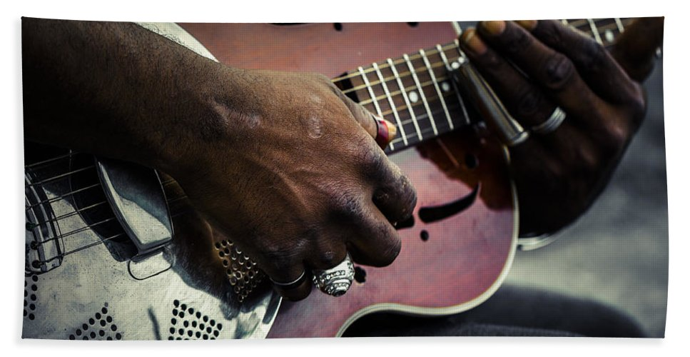 Guitar Hand Towel featuring the photograph Street Blues by Scott Campbell