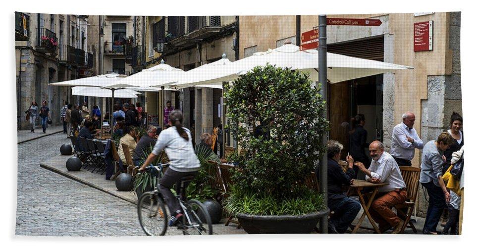 Girona Bath Sheet featuring the photograph Street Corner Girona Spain by Christopher Rees