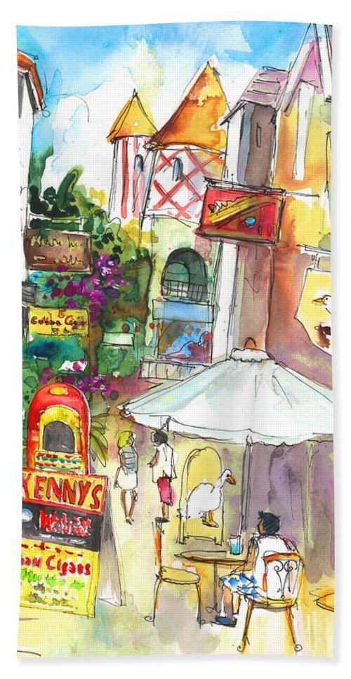 Caribbean Art Bath Sheet featuring the painting Street In Saint Martin by Miki De Goodaboom