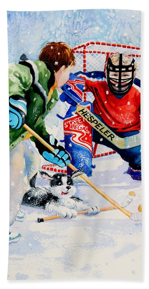 Kids Hockey Bath Sheet featuring the painting Street Legal by Hanne Lore Koehler