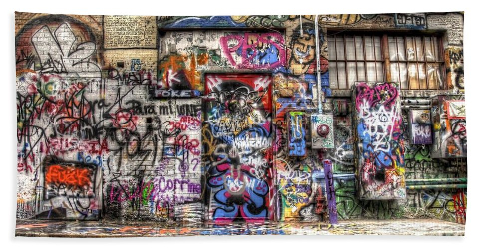 Graffiti Bath Sheet featuring the photograph Street Life by Anthony Wilkening