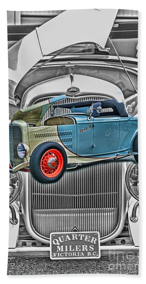 Cars Bath Sheet featuring the photograph Street Rod In Grill by Randy Harris