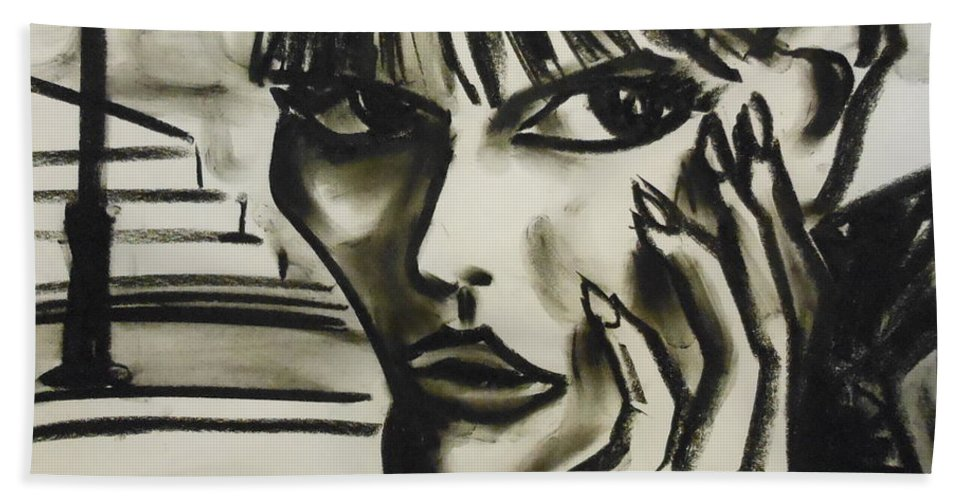 Charcoal Bath Sheet featuring the drawing Streetwise by Jason Reinhardt