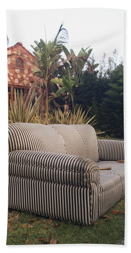 Abandoned Furniture Hand Towel featuring the photograph Striped Couch I by Robert Mollett