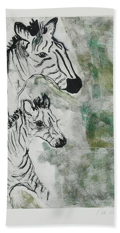 Zebras Hand Towel featuring the mixed media Striped Duet by Cori Solomon