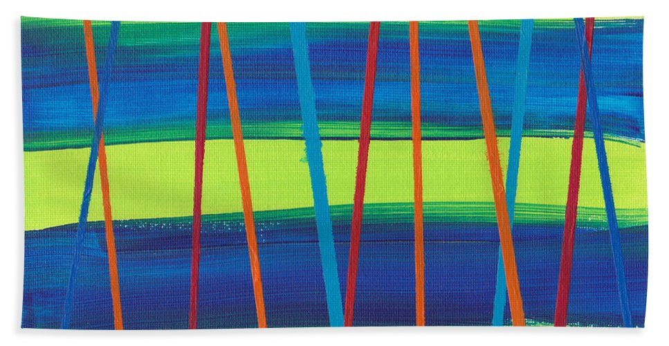 Wright Bath Sheet featuring the painting Stripes by Paulette B Wright