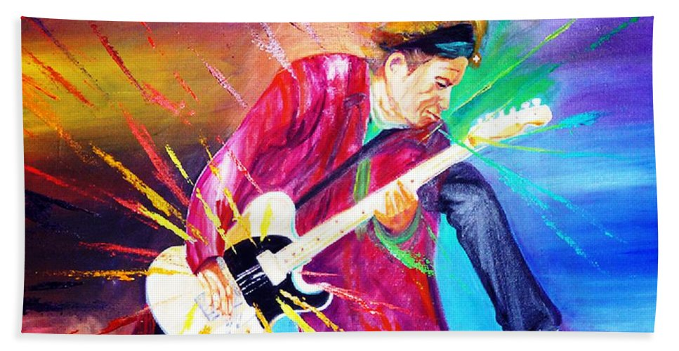 Keith Richards Bath Sheet featuring the painting Stroking by To-Tam Gerwe