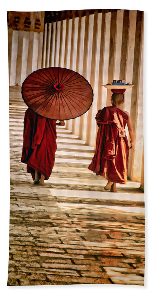 Myanmar Hand Towel featuring the photograph Strolling by Claude LeTien