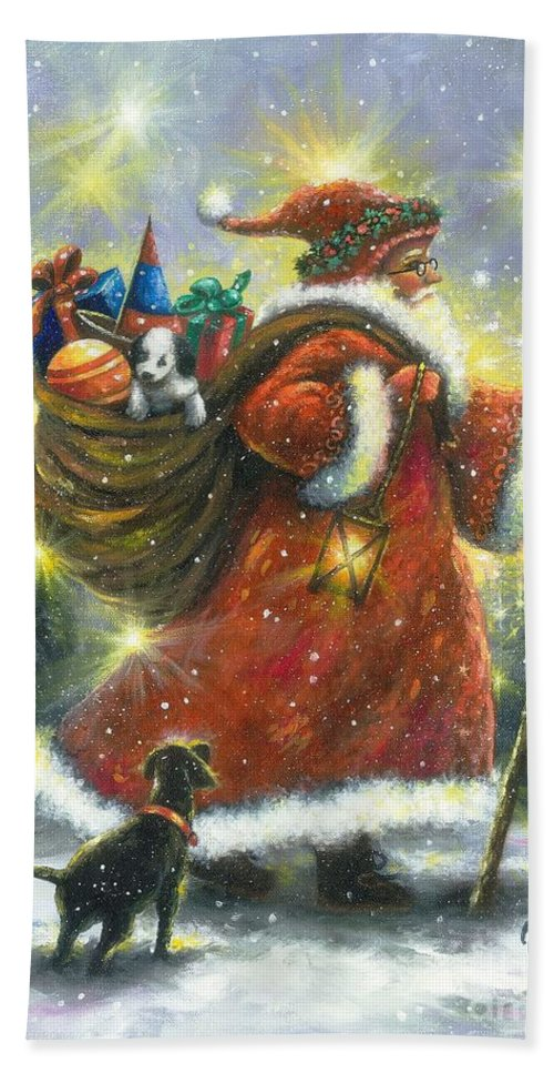 Santa Bath Sheet featuring the painting Strolling Santa II by Vickie Wade