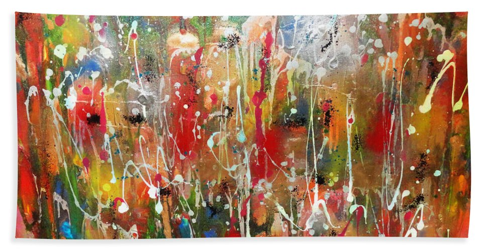 Contemporary Abstract Bath Sheet featuring the painting Strong And Courageous by Yael VanGruber