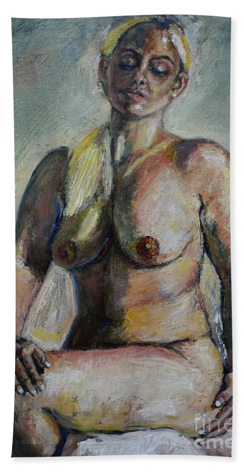 Nude Woman Hand Towel featuring the painting Strong Blond by Raija Merila