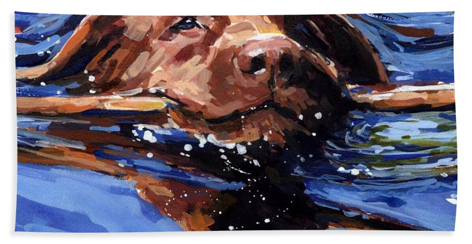 Strong Swimmer Bath Sheet featuring the painting Strong Swimmer by Molly Poole