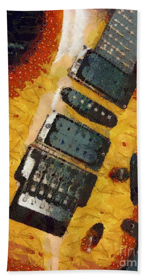 Strummed Bath Sheet featuring the painting Strummed by Catherine Lott