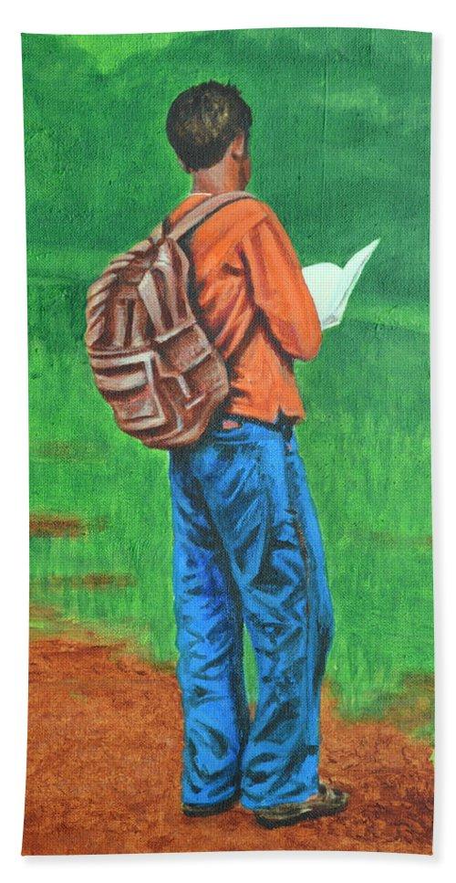 Usha Bath Towel featuring the painting Studious by Usha Shantharam