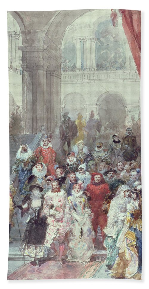 Study For A Costume Ball Given By The Princess Of Sagan Hand Towel featuring the painting Study For A Costume Ball Given By The Princess Of Sagan by Eugene-Louis Lami