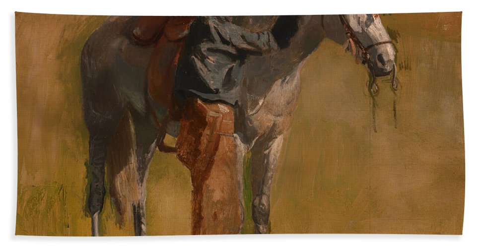 Painting Hand Towel featuring the painting Study For Cowboys In The Badlands by Mountain Dreams