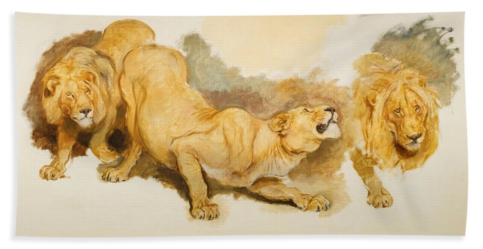 Briton Riviere Bath Sheet featuring the painting Study For Daniel In The Lions Den by Briton Riviere