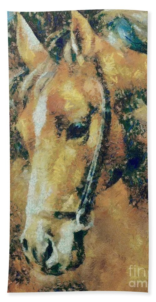 Horse Hand Towel featuring the painting Study Of A Horse's Head by Dragica Micki Fortuna
