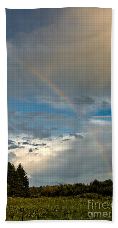 Rainbow Hand Towel featuring the photograph Stunning Rainbow by Cheryl Baxter