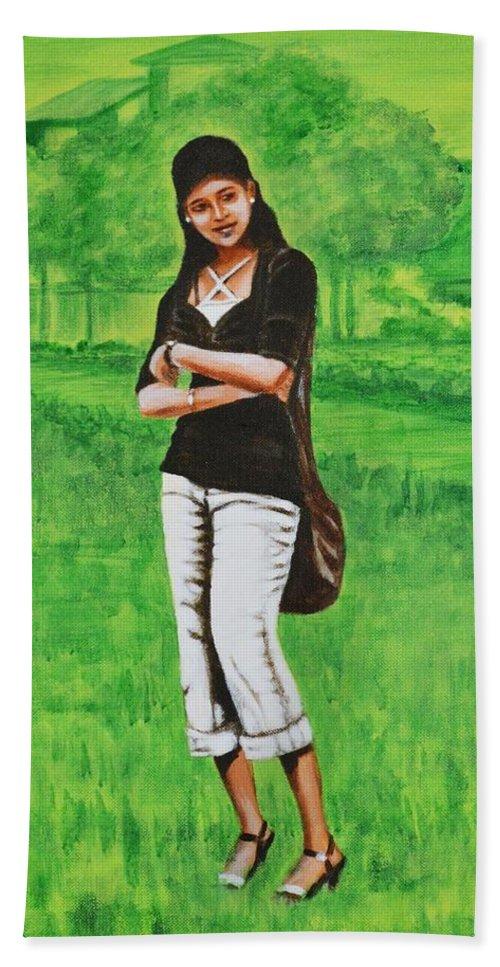 Style Bath Towel featuring the painting Stylish Miss by Usha Shantharam