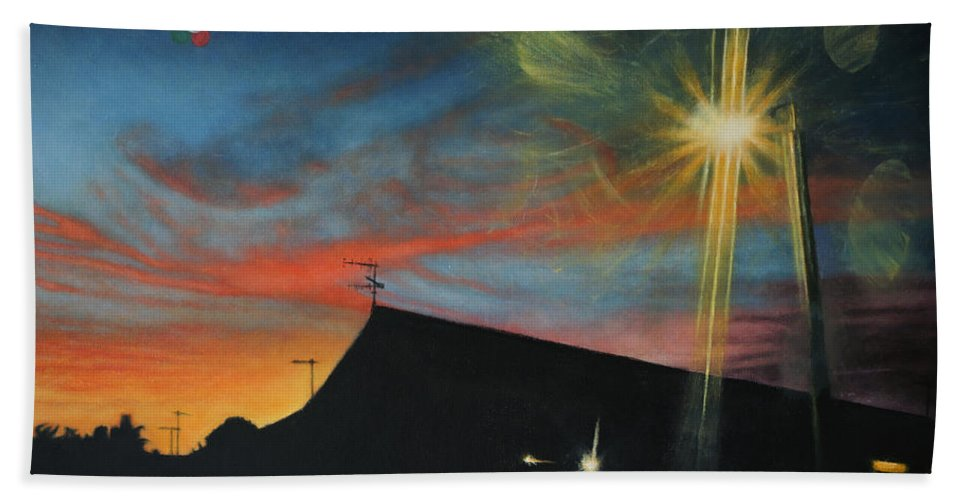 Surreal Hand Towel featuring the painting Suburban Sunset Oil On Canvas by David Rives