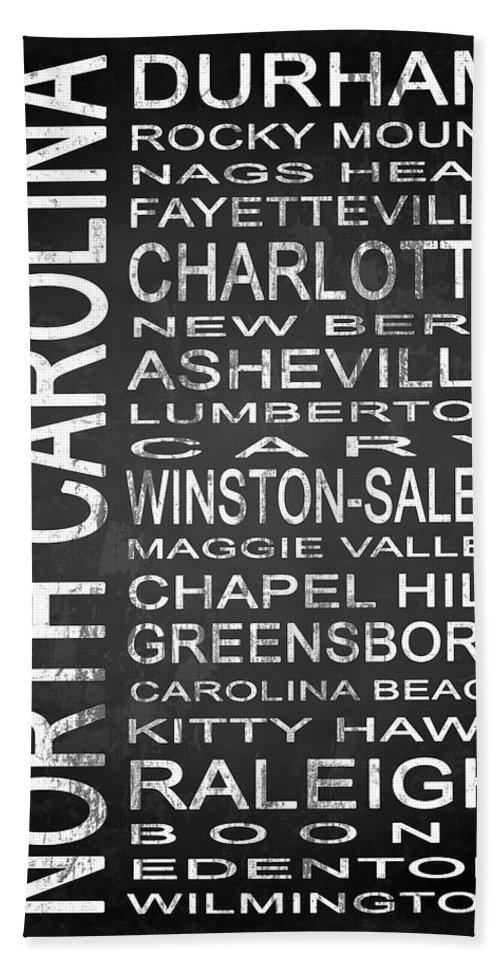 Subway Sign Bath Sheet featuring the digital art Subway North Carolina State 1 by Melissa Smith