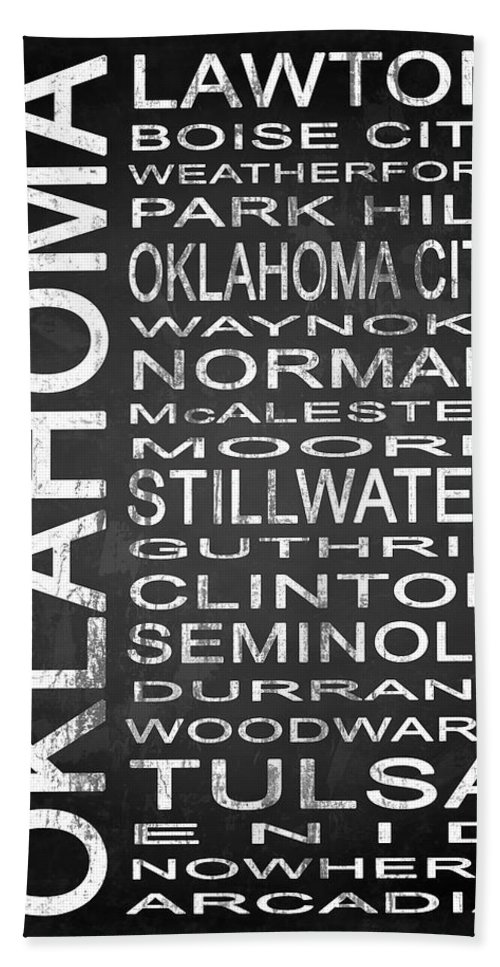 Subway Sign Bath Sheet featuring the digital art Subway Oklahoma State 1 by Melissa Smith