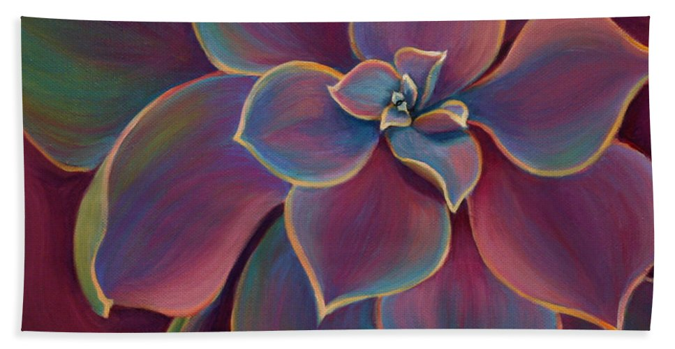 Succulent Hand Towel featuring the painting Succulent Delicacy by Sandi Whetzel