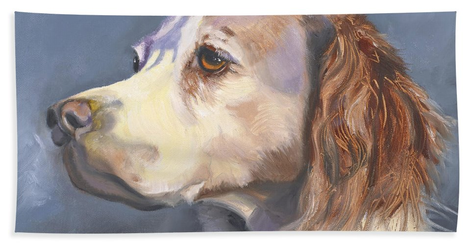 Spaniel Hand Towel featuring the painting Such A Spaniel by Susan A Becker