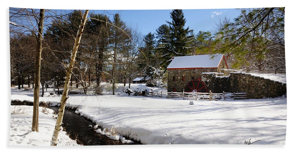 Sudbury Bath Sheet featuring the photograph Sudbury - Grist Mill Winter Creek by Mark Valentine