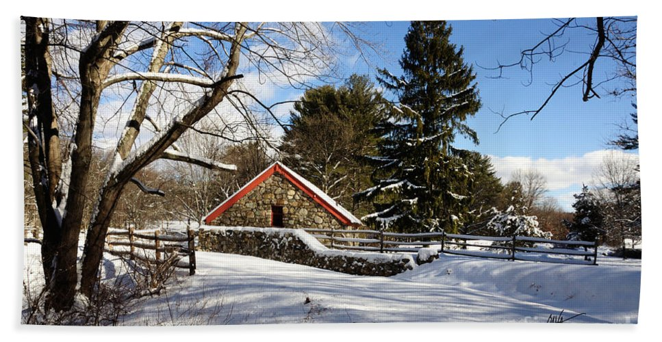 Sudbury Bath Sheet featuring the photograph Sudbury - Grist Mill Winter by Mark Valentine