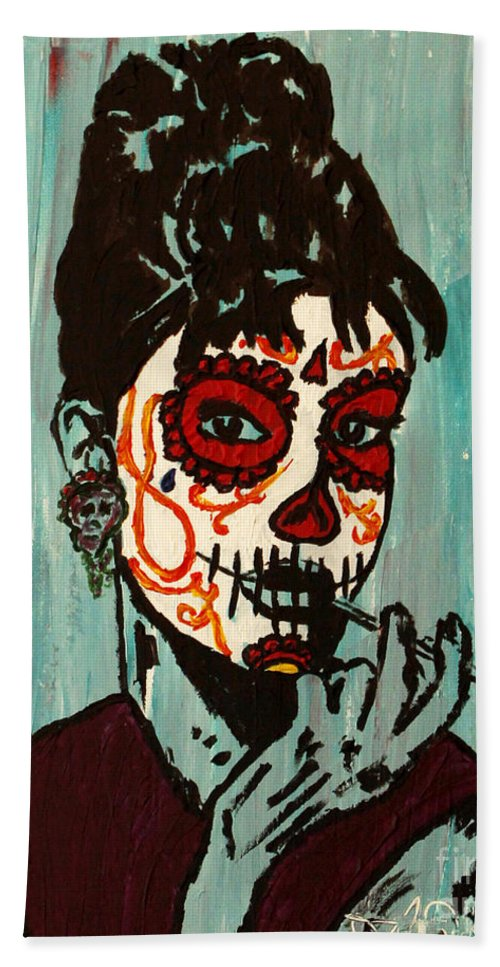 Hollywood Hand Towel featuring the painting Sugar Skull Audrey by Amanda Morrison
