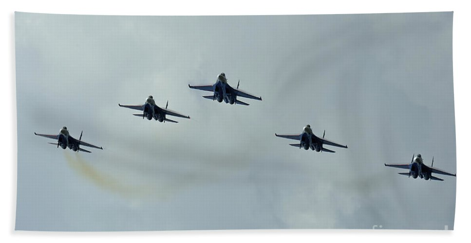 Horizontal Bath Sheet featuring the photograph Sukhoi Su-27 Flanker Aircraft by Remo Guidi