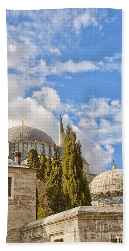 Istanbul Hand Towel featuring the Suleiman Mosque 18 by Antony McAulay