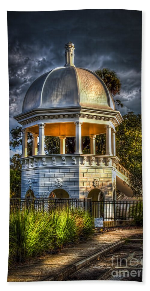 Gazebo In Sulfur Springs Hand Towel featuring the photograph Sulfur Springs Gazebo by Marvin Spates