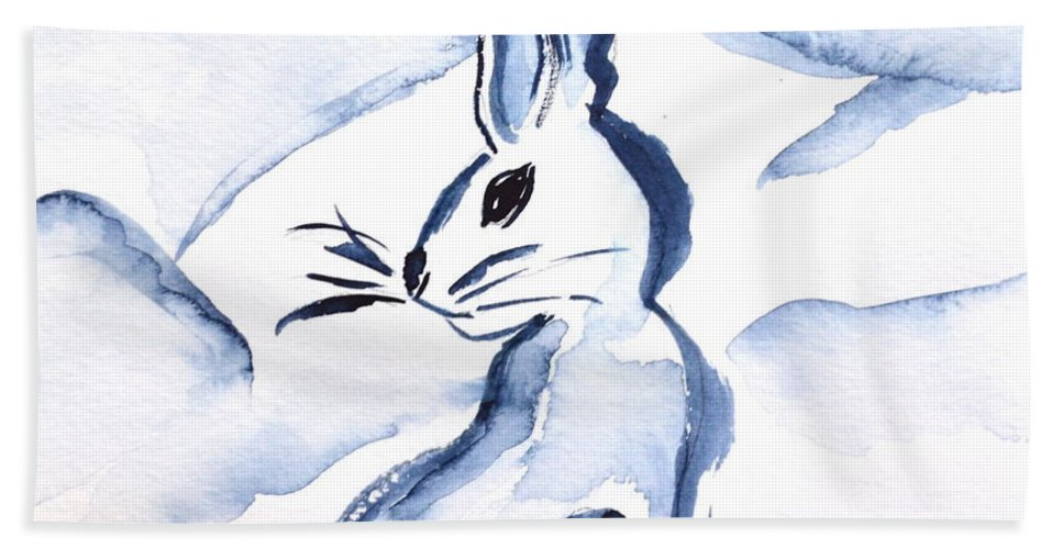 Sumi-e Snow Bunny Hand Towel featuring the painting Sumi-e Snow Bunny by Beverley Harper Tinsley