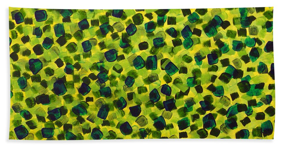 Abstract Bath Towel featuring the painting Sunlight Through The Trees 2 by Dean Triolo