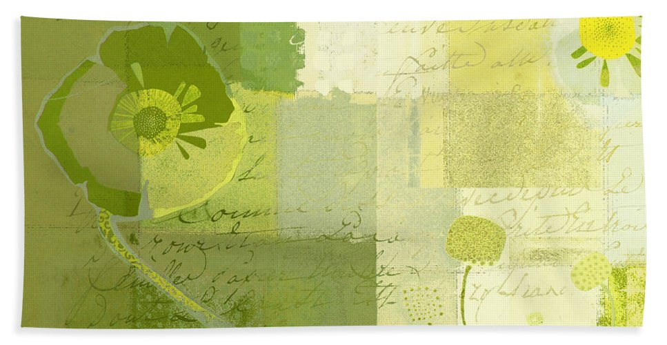 Green Bath Sheet featuring the painting Summer 2014 - J103155155m04-green by Variance Collections
